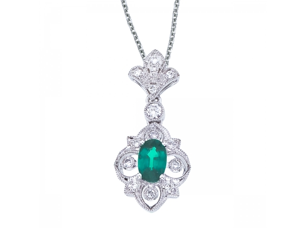 14k White Gold Emerald and Diamond Fleur De Lis Pendant by Color Merchants