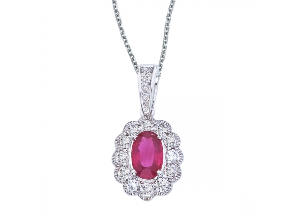 14k White Gold Ruby and Diamond Oval Pendant - This beautiful 14k white gold pendant features a bright 6x4 mm ruby with .30 total ct diamonds.
