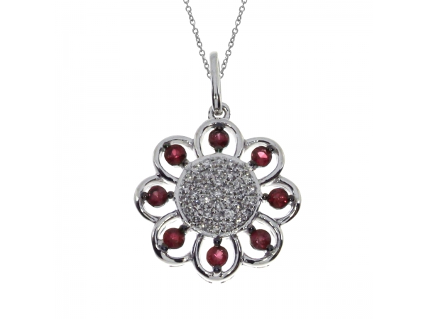 14k White Gold Ruby Sunflower Pendant - Floral inspired pendant with bright rubies and glittering diamonds set in 14k white gold.