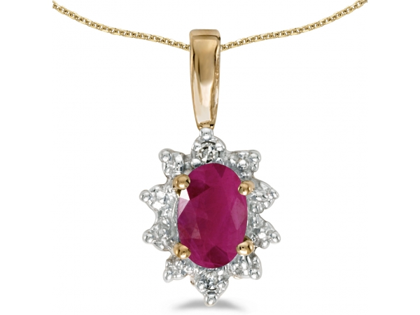 10k Yellow Gold Oval Ruby And Diamond Pendant - This 10k yellow gold oval ruby and diamond pendant features a 6x4 mm genuine natural ruby with a 0.36 ct total weight.