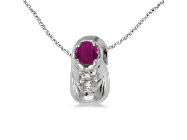 10k white gold round ruby baby bootie pendant p5062w 07. Black Bedroom Furniture Sets. Home Design Ideas