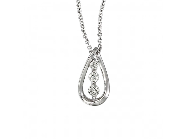 14k White Gold Three Stone Diamond Pendant (.17 carat) by Color Merchants