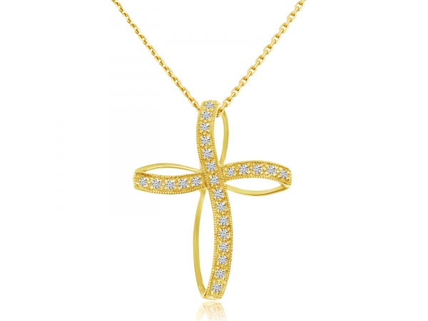 14K Yellow Gold Diamond Highway Cross - 14K Yellow Gold Diamond Highway Cross