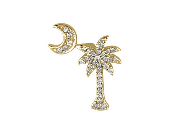 14K Yellow Gold .15 Ct Diamond Palm Tree and Crescent Moon Pendant by Color Merchants