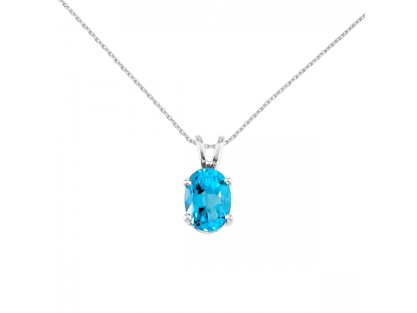 14k White Gold Oval Blue Topaz Pendant - 7x5 mm natural blue topaz pendant set in 14k white gold.
