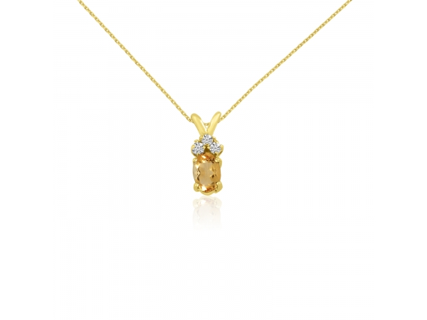 14K Yellow Gold Oval Citrine Pendant with Diamonds - 14K Yellow Gold Oval Citrine Pendant with Diamonds