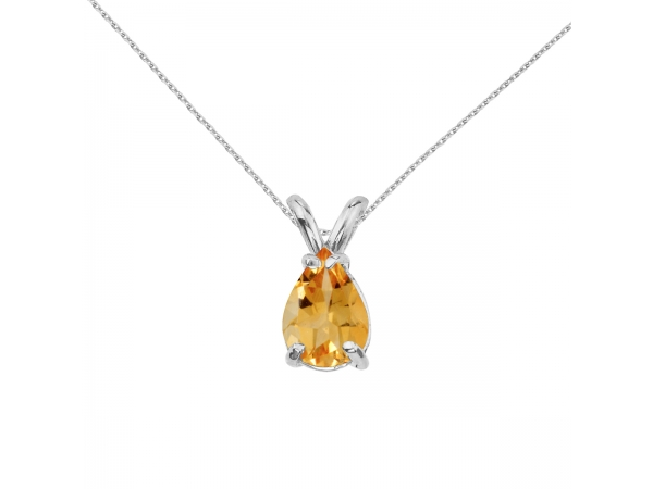 14k Yellow Gold Pear Shaped Citrine Pendant by Color Merchants