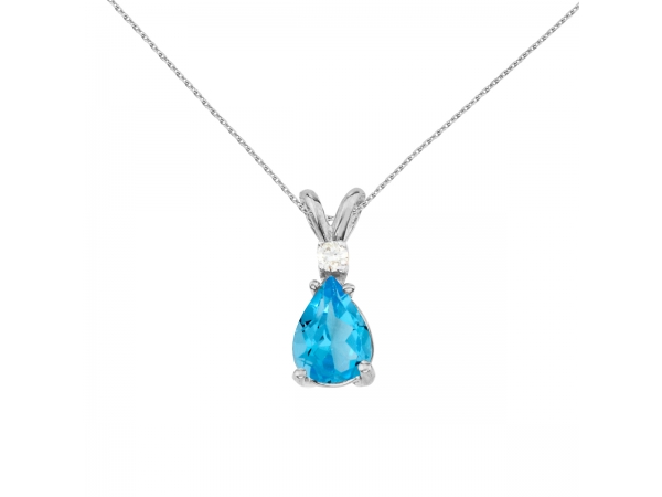 14k White Gold Pear Shaped Blue Topaz and Diamond Pendant by Color Merchants