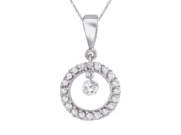 14K White Gold Dashing Diamonds Pendant - 14k gold Dashinng Diamonds pendant with 0.25 total ct diamonds. The center dangling diamond dances and shimmers with every heartbeat.