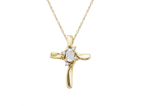 14K Yellow Gold White Topaz and Diamond Cross Pendant by Color Merchants