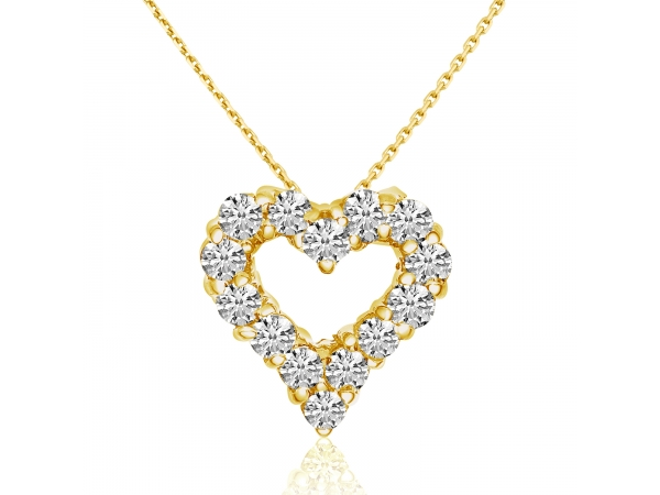 14K Yellow Gold Diamond Heart Pendant by Color Merchants