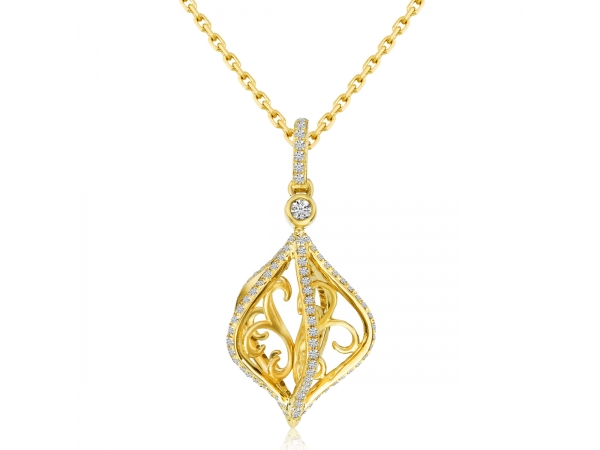 14k Yellow Gold Cage Swirl Diamond Fashion Pendant by Color Merchants