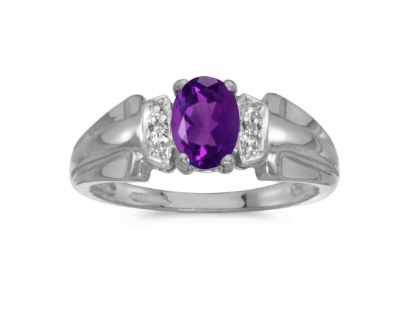 14k White Gold Oval Amethyst And Diamond Ring by Color Merchants