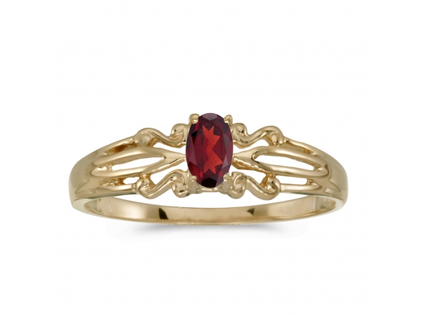14k Yellow Gold Oval Garnet Ring by Color Merchants