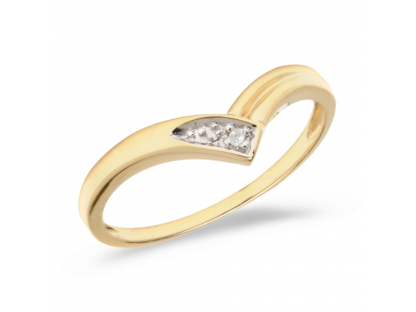 14K Yellow Gold Diamond Chevron Ring by Color Merchants