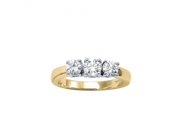 14k Yellow Gold 1 ct 3 Stone Diamond Ring - 14k Yellow Gold 1 ct 3 Stone Diamond Ring