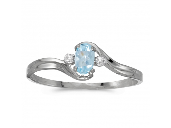 10k White Gold Oval Aquamarine And Diamond Ring - This 10k white gold oval aquamarine and diamond ring features a 5x3 mm genuine natural aquamarine with a 0.14 ct total weight and .01 ct diamond accents.