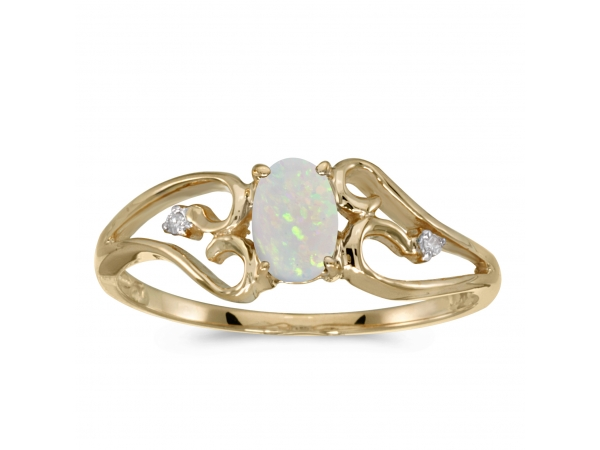 14k Yellow Gold Oval Opal And Diamond Ring - This 14k yellow gold oval opal and diamond ring features a 6x4 mm genuine natural opal with a 0.19 ct total weight.