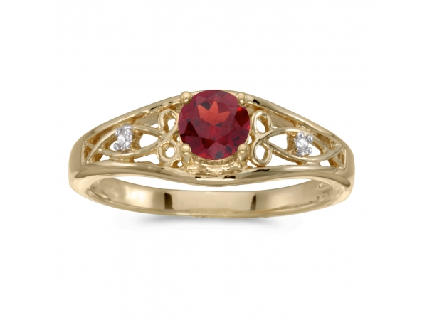 14k Yellow Gold Round Garnet And Diamond Ring - This 14k yellow gold round garnet and diamond ring features a 5 mm genuine natural garnet with a 0.50 ct total weight.