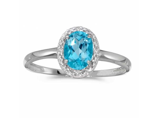 10k White Gold Oval Blue Topaz And Diamond Ring by Color Merchants