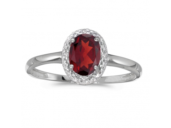 14k White Gold Oval Garnet And Diamond Ring by Color Merchants