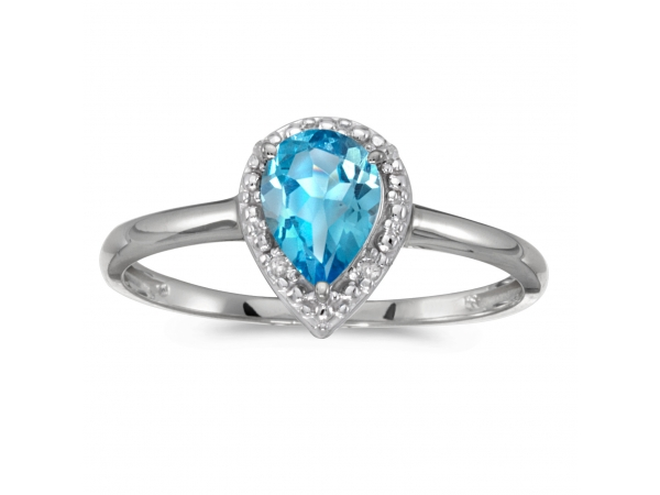 10k White Gold Pear Blue Topaz And Diamond Ring by Color Merchants