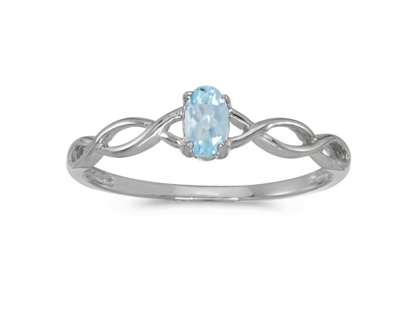 14k White Gold Oval Aquamarine Ring - This 14k white gold oval aquamarine ring features a 5x3 mm genuine natural aquamarine with a 0.14 ct total weight.