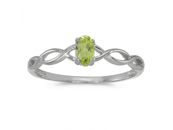 14k White Gold Oval Peridot Ring by Color Merchants