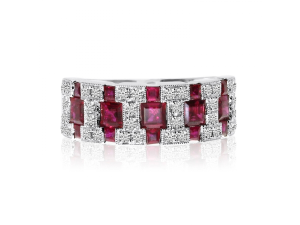 14k White Gold Ruby and Diamond Wide Band by Color Merchants