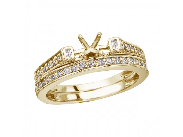 14K Yellow Gold Baguette Diamond Bridal Ring Set - .39 total carat semi-mount engagement ring and band set in 14k yellow gold.