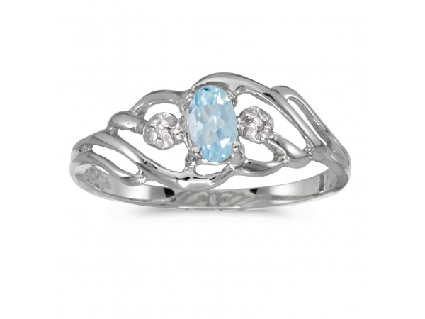 10k White Gold Oval Aquamarine And Diamond Ring - This 10k white gold oval aquamarine and diamond ring features a 5x3 mm genuine natural aquamarine with a 0.14 ct total weight.