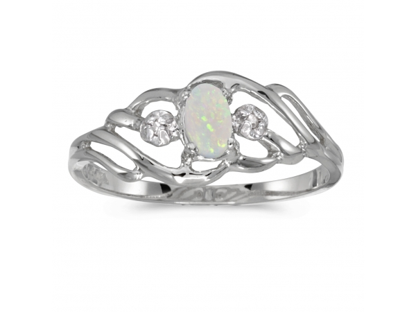 10k White Gold Oval Opal And Diamond Ring by Color Merchants