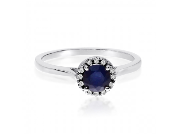 10k White Gold Sapphire and Diamond Ring by Color Merchants