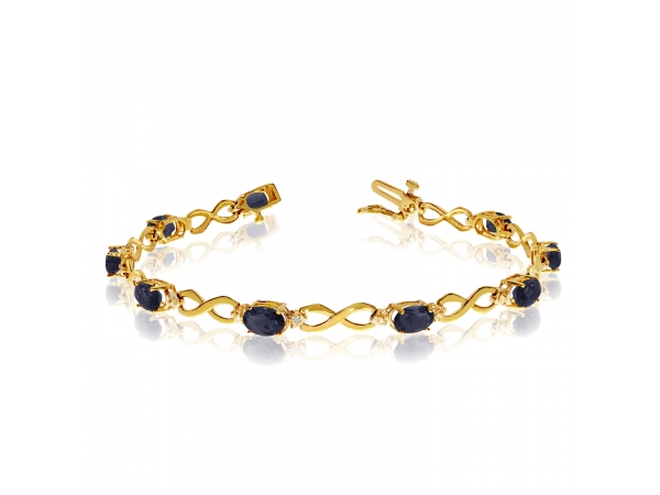 10K Yellow Gold Oval Sapphire and Diamond Bracelet by Color Merchants