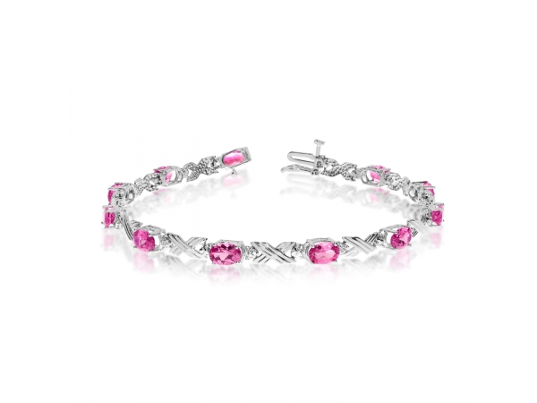 10K White Gold Oval Pink Topaz and Diamond Bracelet - This 10k white gold oval pink topaz and diamond bracelet features eleven 6x4 mm stunning natural pink topaz stones with a 4.73 ct total gem weight.