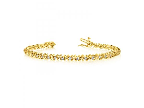 "14k Yellow Gold ""XO"" Tennis Bracelet by Color Merchants"