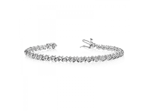 "14k White Gold ""XO"" Tennis Bracelet by Color Merchants"