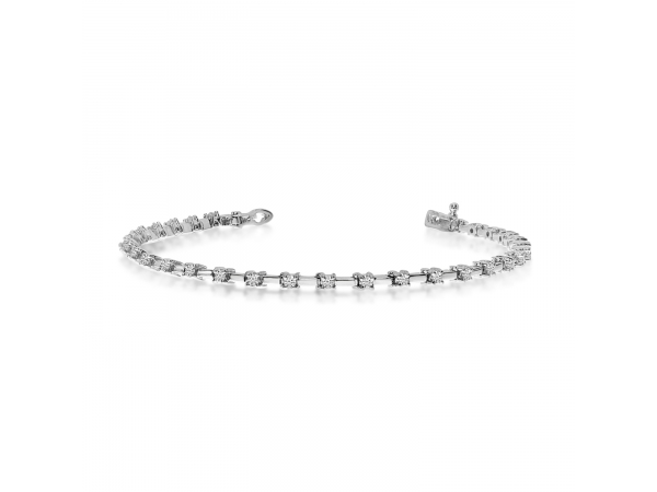 14k White Gold Diamond Petite Bar Tennis Bracelet - 14k White Gold Diamond Petite Bar Tennis Bracelet