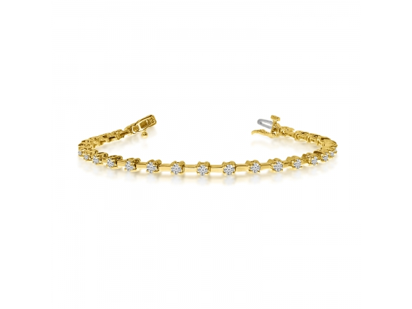 14k yellow gold round diamond bar style tennis bracelet. Black Bedroom Furniture Sets. Home Design Ideas