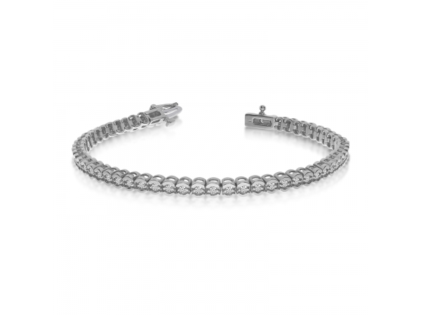 14k White Gold Diamond Setback Bracelet - 14k White Gold Diamond Setback Bracelet