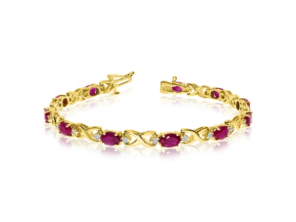 14k Yellow Gold Natural Ruby And Diamond Tennis Bracelet - This 14k yellow gold natural ruby and diamond tennis bracelet features 11 oval rubys with a total gem weight of 3.96 carats and a total diamond weight of 0.4 carats.
