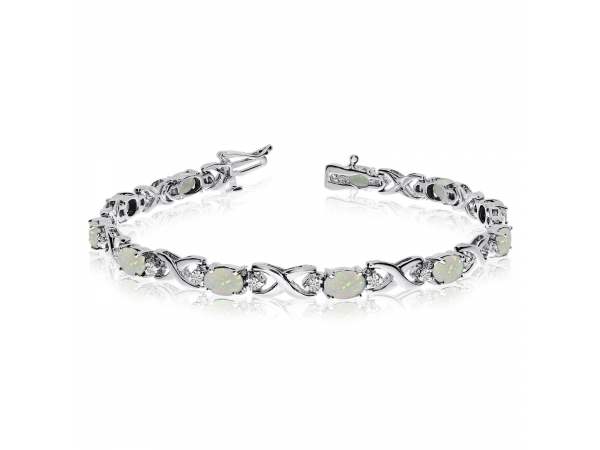 14k White Gold Natural Opal And Diamond Tennis Bracelet by Color Merchants