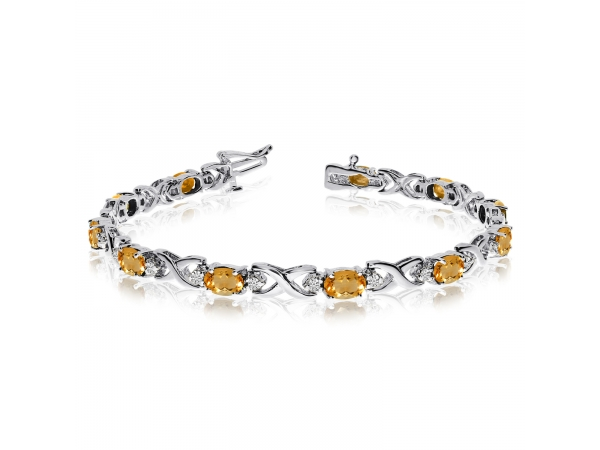 14k White Gold Natural Citrine And Diamond Tennis Bracelet by Color Merchants