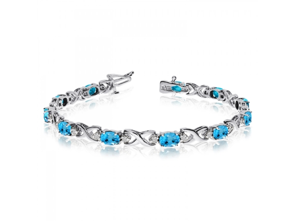 14k White Gold Natural Blue-Topaz And Diamond Tennis Bracelet by Color Merchants
