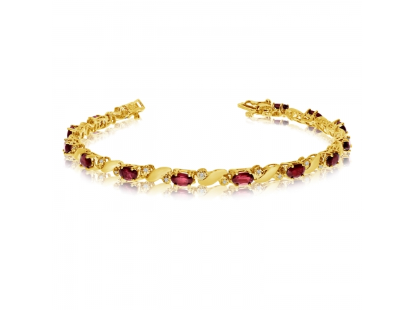 14k Yellow Gold Natural Garnet And Diamond Tennis Bracelet by Color Merchants