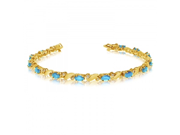 14k Yellow Gold Natural Aquamarine And Diamond Tennis Bracelet by Color Merchants