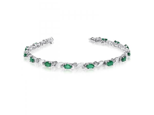 14k White Gold Natural Emerald And Diamond Tennis Bracelet by Color Merchants