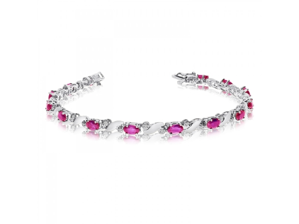 14k White Gold Natural Pink-Topaz And Diamond Tennis Bracelet - This 14k white gold natural pink-topaz and diamond tennis bracelet features 13 oval pink-topazs with a total gem weight of 3.25 carats and a total diamond weight of 0.15 carats.