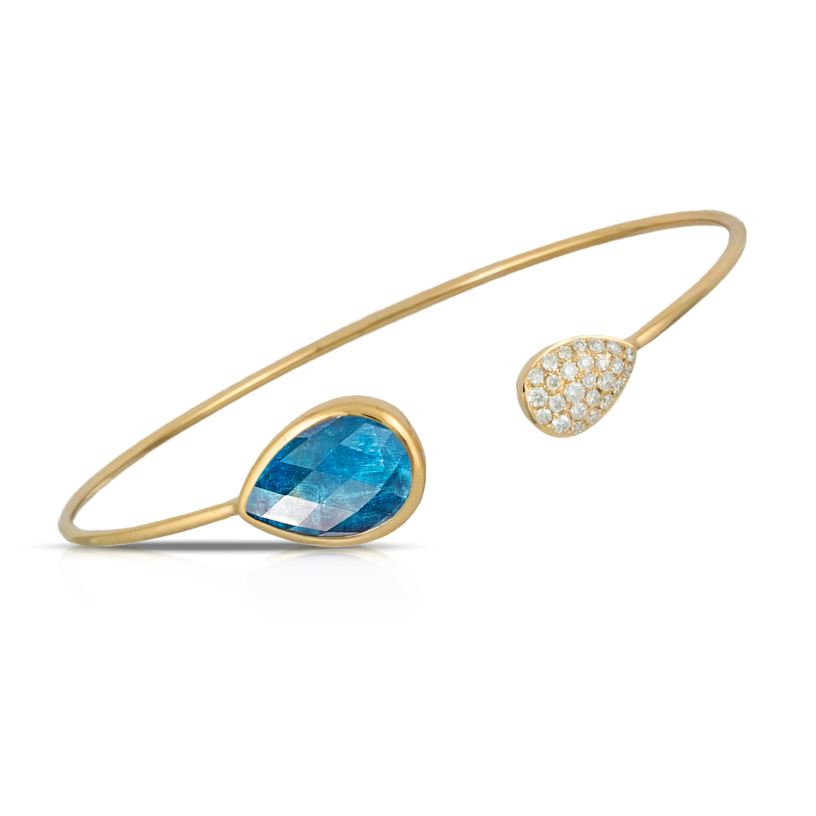 18K Yellow Gold Apatite Bangle Bracelet - 18K Yellow Gold Diamond Bangle With Clear Quartz Over Apatite