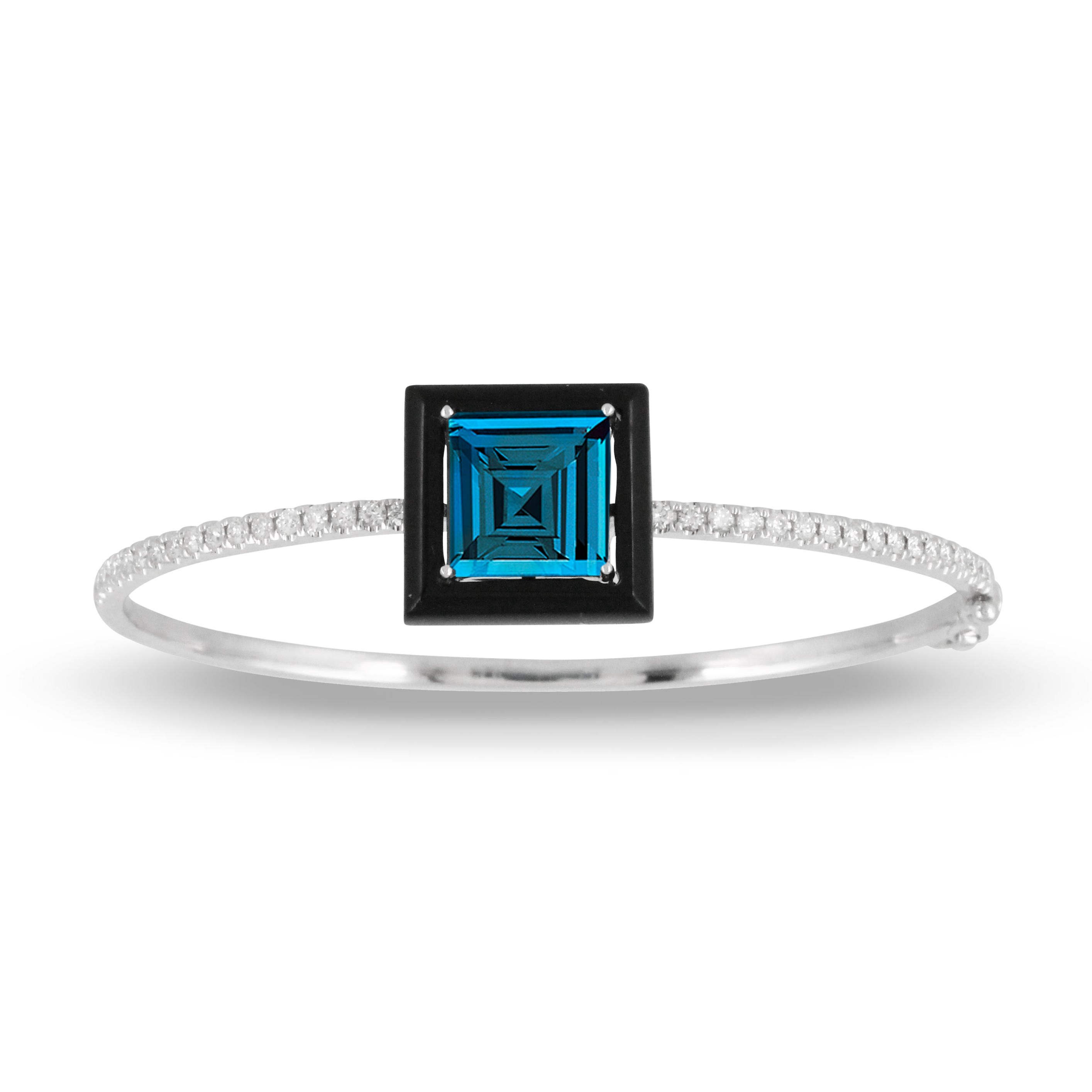 18K Diamond Gemstone Bangle - 18K White Gold Diamond Bangle With Black Onyx And London Blue Topaz Center